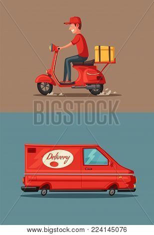 Delivery service by van and motorbike. Car for parcel delivery. Cartoon vector illustration. Fast delivery truck or lorry. Food service. Red scooter. Retro bike