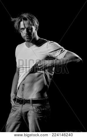 Handsome Man Or Unshaven Macho, Bodybuilder, With Stylish Blond Hair, Haircut, In White Tshirt Showi