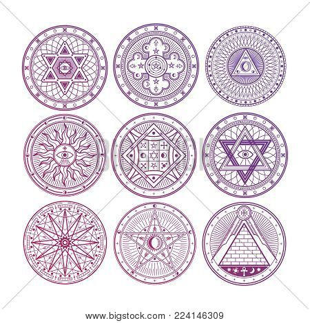 Bright mystery, witchcraft, occult, alchemy, mystical esoteric symbols isolated on white background. Vector magic occult symbols collection illustration