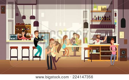People eating lunch in cafe bar interior. Flat vector illustration. Cafe interior and restaurant with bar