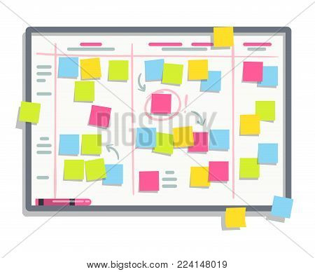 Process planning board with color sticky notes. Scrum task whiteboard flat vector illustration. Board with colored note sticker reminder