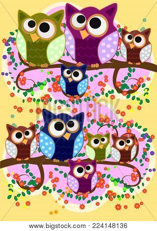 Happy family of owls on flowering tree branches. Daddies, mothers and children, grandparents. Spring, summer, honeymoon season
