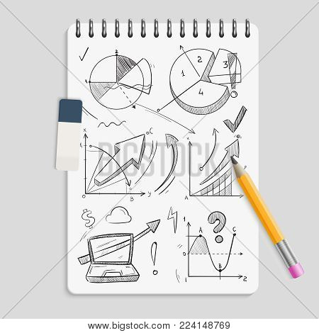 Business graphics pencil sketches on realistic notebook with eraser and pencil - brainstorm concept. Sketch business graphic doodle, pencil drawing diagram on notepad. Vector illustration