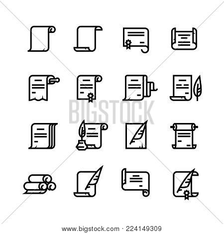 Ancient paper scrolls and documents vector icons. Simple diploma symbols. Illustration of ancient document certificate paper, linear diploma scroll