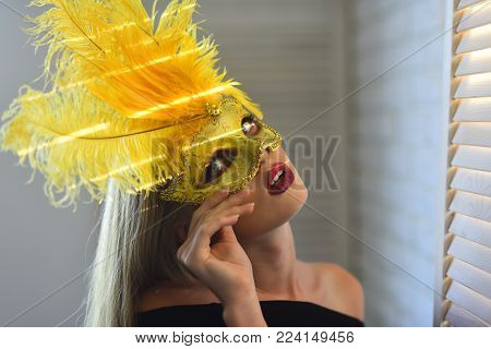 Beauty, look, makeup. Sensual woman wear carnival mask with feather, fashion. Fashion, accessory, style. Girl with masquerade mask on face, beauty. Party, holiday, celebration. love games