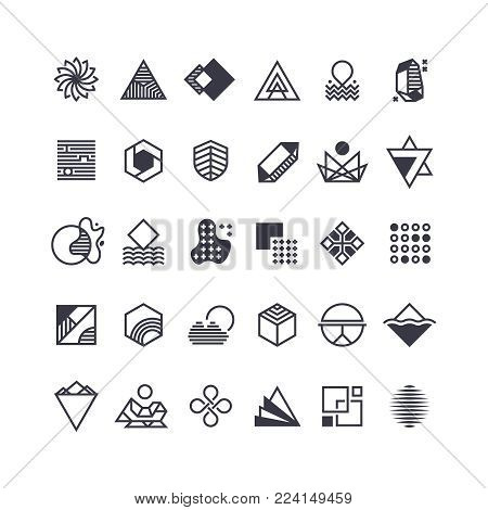 Vector geometric shapes and symbols. Geometrical logos vector set. Geometric shape logo, hipster abstract creative trendy icons illustration
