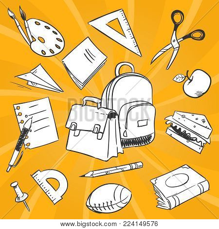 Necessary students things - hand drawn stationery, school bags, food on colorful backdrop. School drawing stationery tools for education. Vector illustration