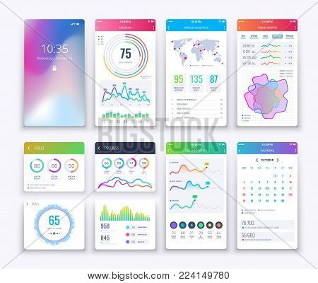Smartphone UI. Mobile vector graphic ui and ux design, apps digital lifestyle apps interface template set in white style