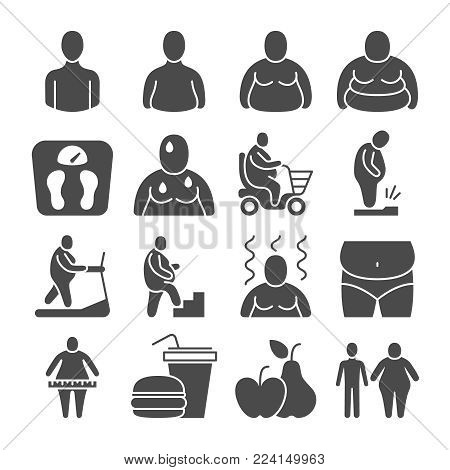 Fat obese people, overweight person vector icons. People overweight and fat, body obesity illustration