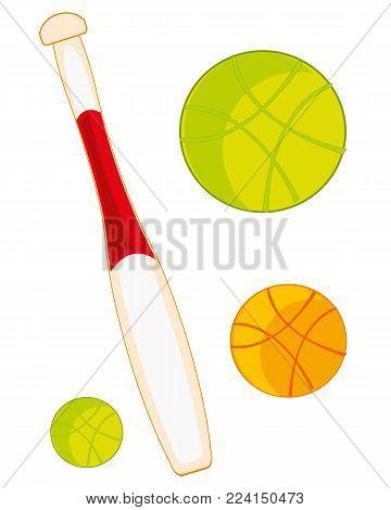 Atheletic stock baseball bat on white background is insulated