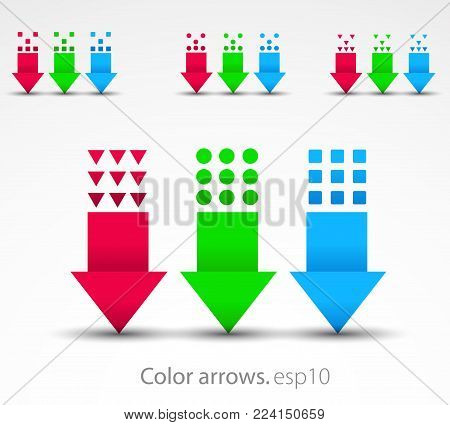 Set of simple conceptual colored arrows pointed down. Vector illustration