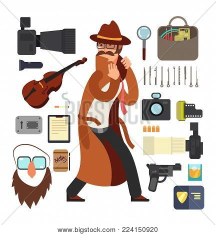 Cartoon surveillance detectives with equipment vector set for investigation concept. Character detective surveillance and investigation illustration