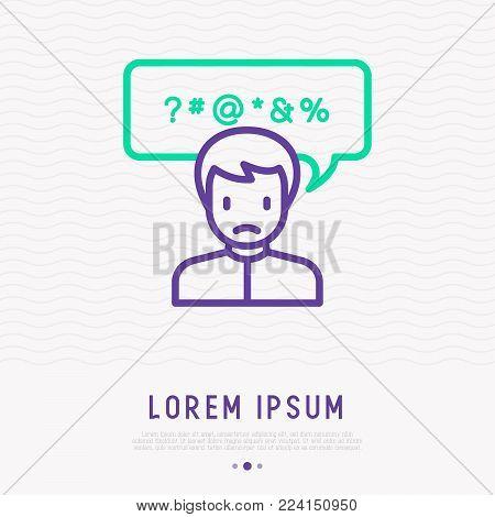 Man swearing thin line icon. Bad habit. Vector Illustration of social problem.