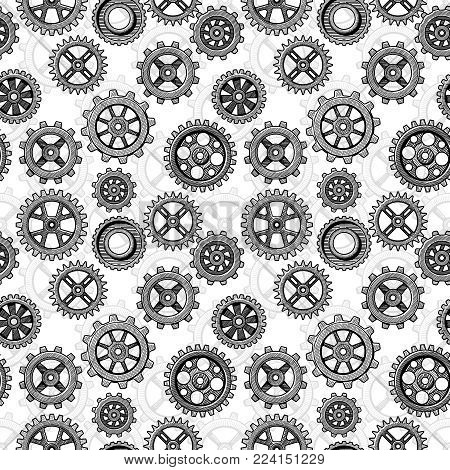 Retro sketch mechanical gears seamless pattern design. Gear cog wheel machinery vector illustration