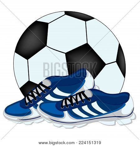 Soccer ball and atheletic footwear on white background is insulated