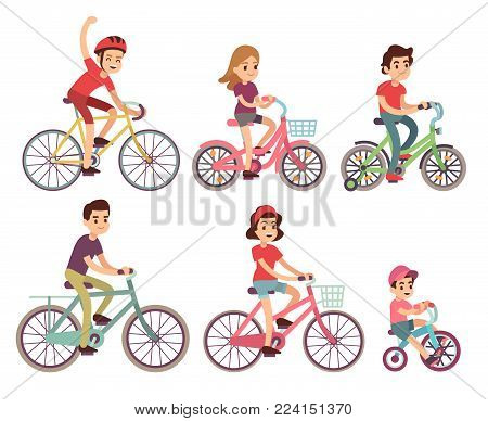 People riding bike. Flat cyclist on bicycles vector set. Sport family activity bike illustration