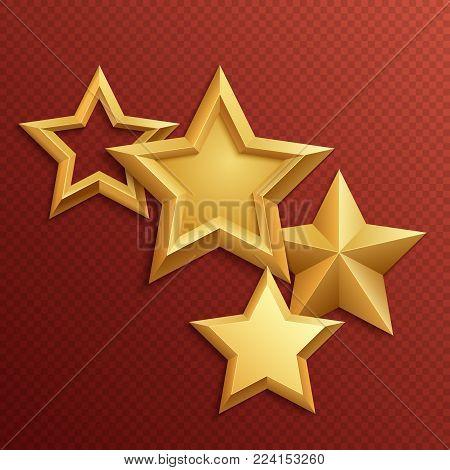 Award shiny metal golden stars. Gold shiny metal and golden rating glossy stars illustration