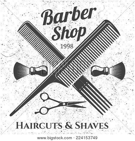 Grey vintage barber shop emblem design. Barber shop label badge banner. Vector illustration
