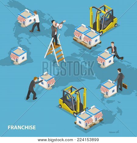 Franchise flat isometric vector concept. Businessmen are arranging stores on the Earth map.