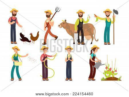 Cartoon farmer and gardeners with tools and farm animals vector characters set. Farmer worker farming, agriculture and cow illustration