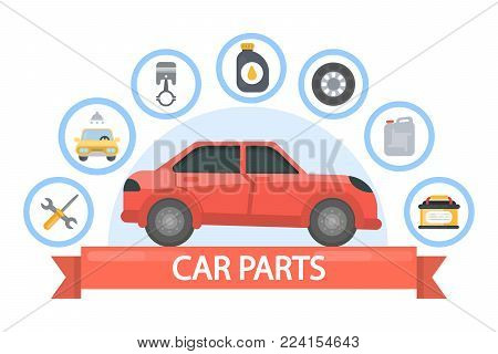 Car parts set. Red automobile with spare parts.