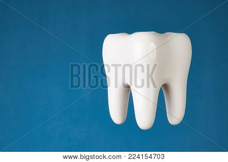 Ceramic tooth model isolated on blue background with copy space, close-up. Dental health, oral care, teeth restoration and 3d teeth whitening concept