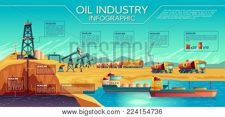 Vector oil industry business presentation infographics. Oil extraction, transportation of petroleum gasoline diesel. Illustration with oil derrick pump rig, rail fuel tanks, trucks, oil tanker ship