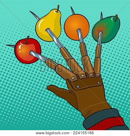 Fruits are strung on blades of hand pop art retro vector illustration. Horror metaphor. Color background. Comic book style imitation.