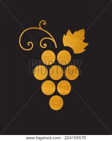 Gold textured grapes logo. Golden wine or vine logotype icon. Brand design element for organic wine, wine list, menu, liquor store, selling alcohol, wine company. Vector illustration.