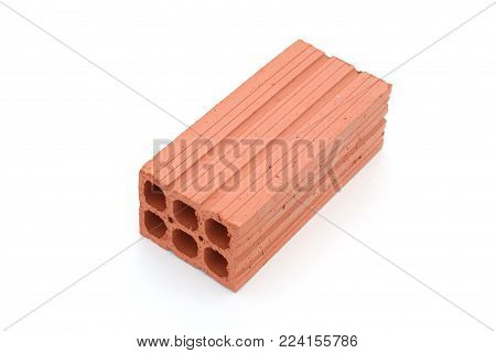 Hollow red brick for construction on white background.