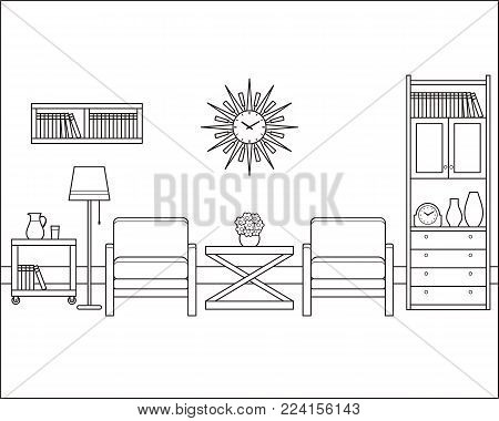 Room interior outline sketch. Retro living room in flat design. Vector. Linear vintage illustration. Thin line home space with furniture. Hand draw black white house equipment 60s 70s.