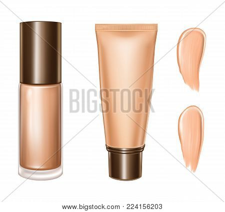 Tonal foundation cream vector 3D bottle and tube. Isolated illustration of realistic tone basis or tonal makeup cosmetic package and smudges on white background for skincare product design template