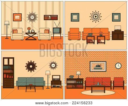 Retro room interior. Vector. Linear living room set. Flat design furniture sofa, couch, armchair, TV, turntable, telephone, radio, clock. Line art illustration. House equipment 60s. Vintage background