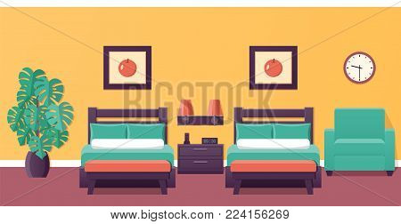 Hotel room flat interior with two beds. Bedroom house design. Vector illustration with furniture and houseplant. Home background.