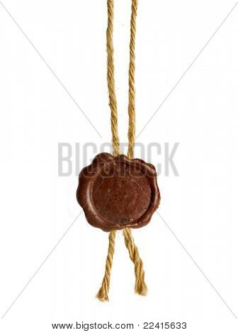 Post stamps , Empty seal wax with the cord isolated on white poster