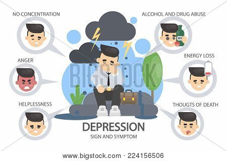 Depression signs and symptoms. Energy loss and anger, drug abuse and sadness.