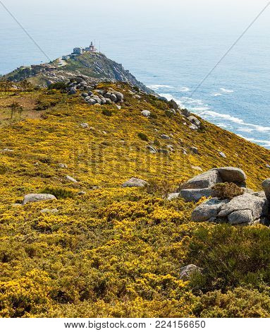 View of Cape Finisterre, La Coruna, Spain. The most western point in Europe and end of the pilgrim route to Santiago.