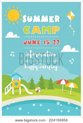 Beach Club or Camp for Kids. Summer and Beach Poster Vector Template.