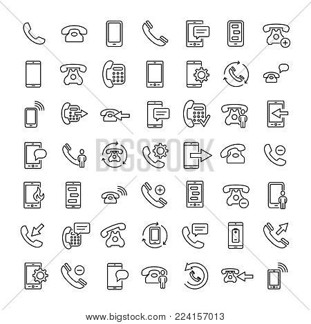 Set of 16 phone thin line icons. High quality pictograms of mobile. Modern outline style icons collection. Telephone, smartphone, cellphone, message, etc.