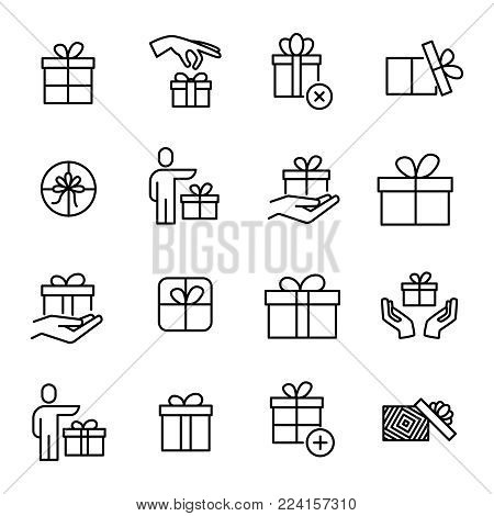 Set of 16 gift thin line icons. High quality pictograms of present. Modern outline style icons collection. Box, surprise, package, price, etc.