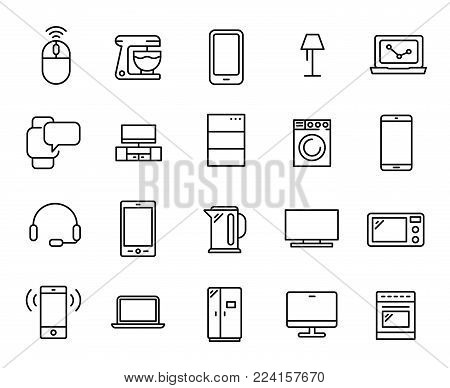 Simple collection of devices related line icons. Thin line vector set of signs for infographic, logo, app development and website design. Premium symbols isolated on a white background.
