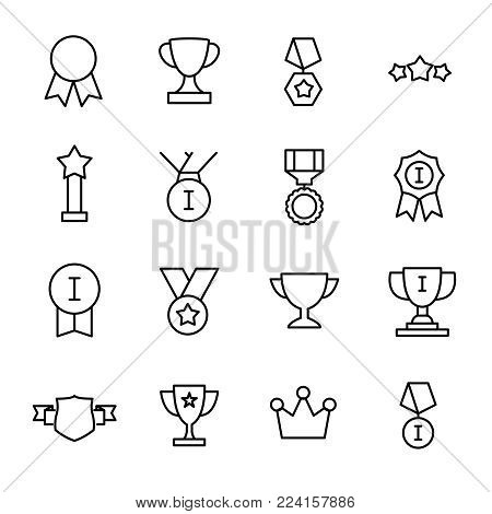 Set of 16 award thin line icons. High quality pictograms of achievement. Modern outline style icons collection. Prize, success, badge, cup, etc.