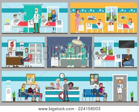 Hospital rooms set. Doctor's office and ward, children and adults.