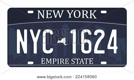 License plate isolated on white background. New York license plate with numbers and letters. Badge for t-shirt graphic. Vector