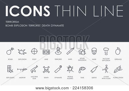 Set of TERRORISM Thin Line Vector Icons and Pictograms