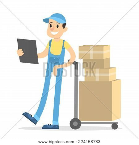 Delivery man with parcels on truck and clipboard on white.