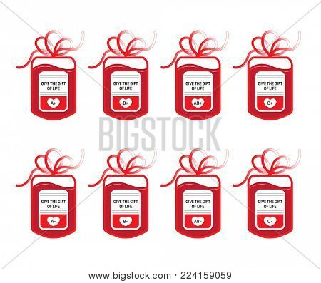 Eight blood donation bags with tube shaped as a gift bow and the slogan: Give the Gift of Live. Four main blood groups of A, B, AB and O with RH-negative and RH-positive