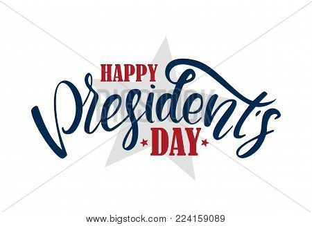 Vector illustration: Calligraphic lettering composition of Happy Presidents Day with stars.
