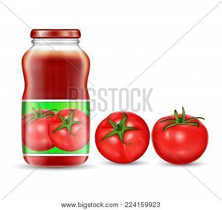 illustration in a realistic style of red tomatoes and jars with tomato juice, ketchup, sauce isolated on white background. Packaging design element, label, template.