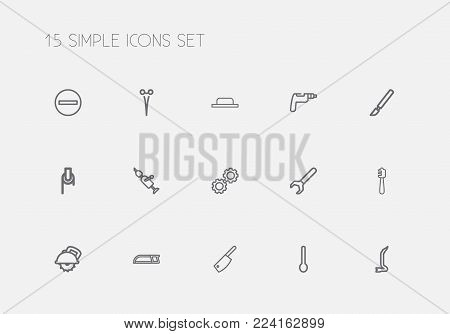 Set of 15 editable instrument icons line style. Includes symbols such as drill, spanner, cogwheel and more. Can be used for web, mobile, UI and infographic design.